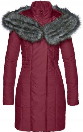 f7403b88845f Płaszcz ze sztucznym futer czerwony 44 XXL 908191 Allegro