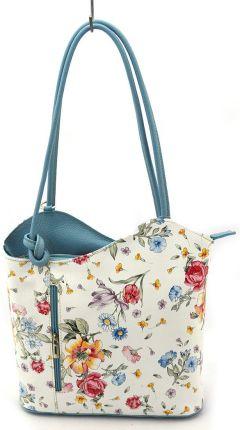 c25a21abc2b9d Torebka-plecak vp115l Flowers niebieski - Skóra licowa   Flowers niebieski