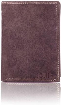 b54350d59ef62 Elegancki czarny skórzany męski portfel SOLIER SW22 BRĄZOWY - Brązowy
