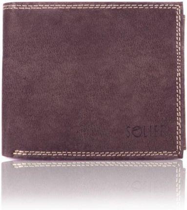 e48354daf25d3 Elegancki czarny skórzany męski portfel SOLIER SW24 BRĄZOWY - Brązowy
