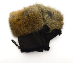 fd60611826bb1 dm3krolik czarny bury Mittenki rękawiczki bez palców obszyte królikiem -  Futro ...