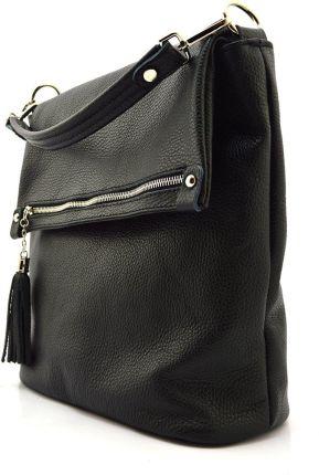 701de70bf7512 Torba na zakupy shopperbag płócienna ramiączka ze skóry eko - czarna ...