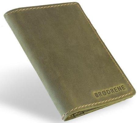 90d089c93380c Oliwkowy sk rzany portfel slim wallet brodrene sw01 - Miękka cielęca skóra    Oliwkowy