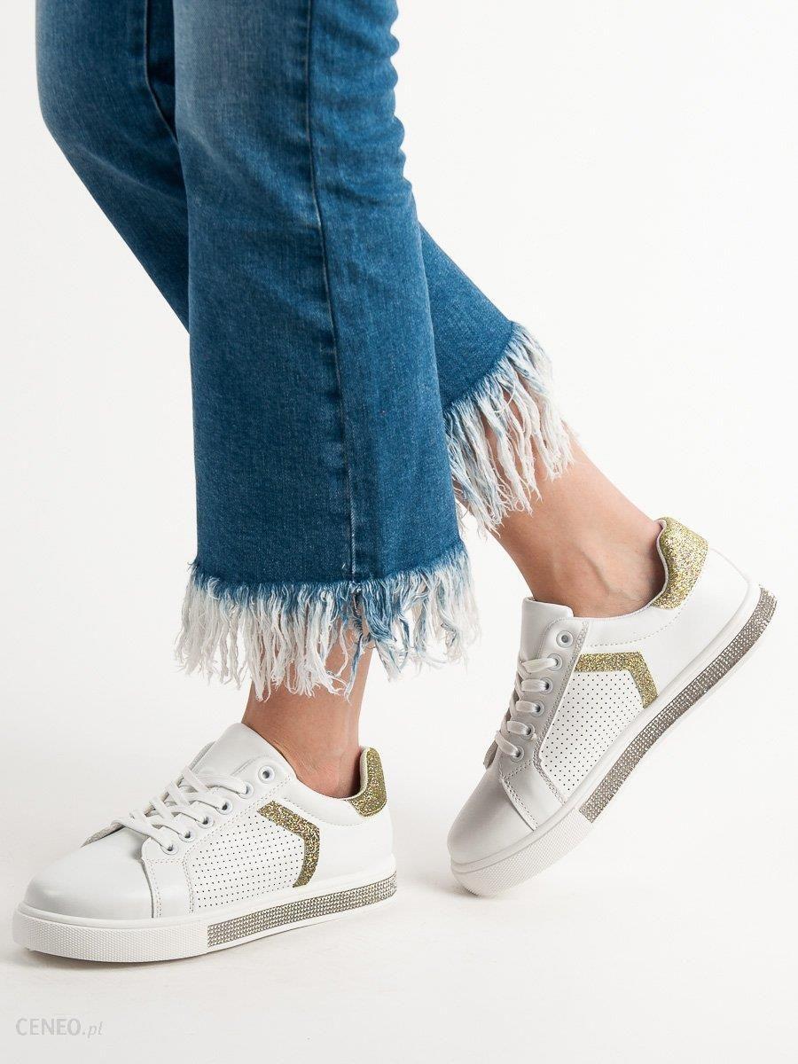 Ideal Shoes Buty Sportowe Z Cyrkoniami białe | Buty sportowe