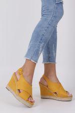 849df05375267 Żółte sandały espadryle z paskami na krzyż na koturnie Casu 66-368