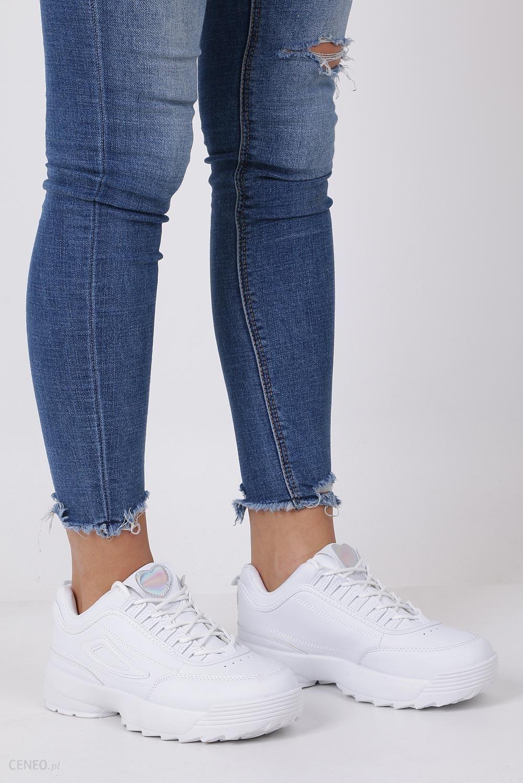 Białe buty sportowe sneakersy sznurowane Casu F6 8