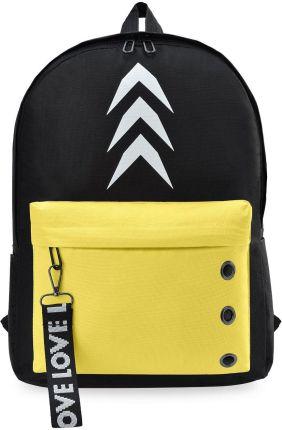 dfdaa9d098e6c Młodzieżowy plecak szkolny wycieczkowy z kieszenią i brelokiem logo -  czarno-żółty