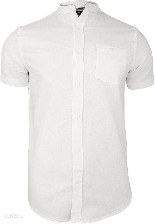 fd9759dd9c4619 Biała Koszula Męska na Stójce z Krótkim Rękawem, Taliowana -Brave Soul- 100%