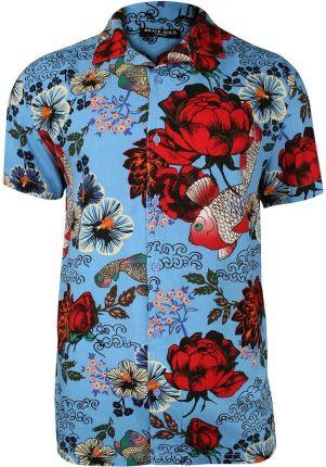 ce34681be12b9b Błękitna Koszula Męska z Krótkim Rękawem, Taliowana -Brave Soul- 100%  Wiskoza,