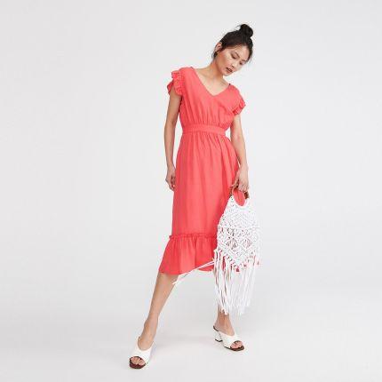 b122a12422 Reserved - Sukienka z falbanami - Pomarańczo ...