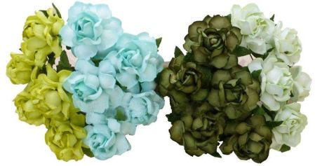 5ecbd27b9d406f Wild Orchid Crafts 20 Mixed Green Tone Mulberry Paper Cottage Roses  (112899K)
