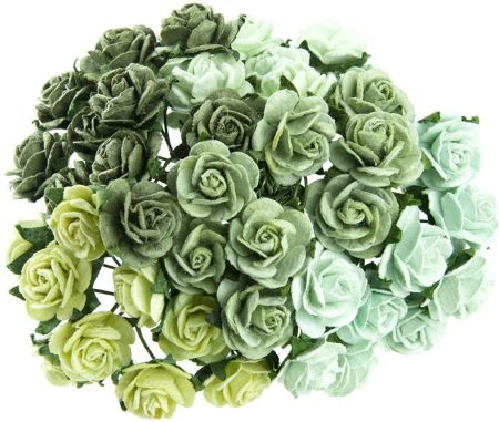 9e7e12f466a921 Wild Orchid Crafts Mixed Green Mulberry Paper Open Roses (112731J)