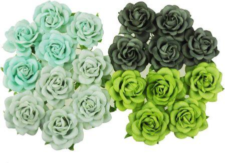 ec79cb7dd85ff4 Wild Orchid Crafts 20 Mixed Green Tone Mulberry Paper Trellis Roses  (112920Q)