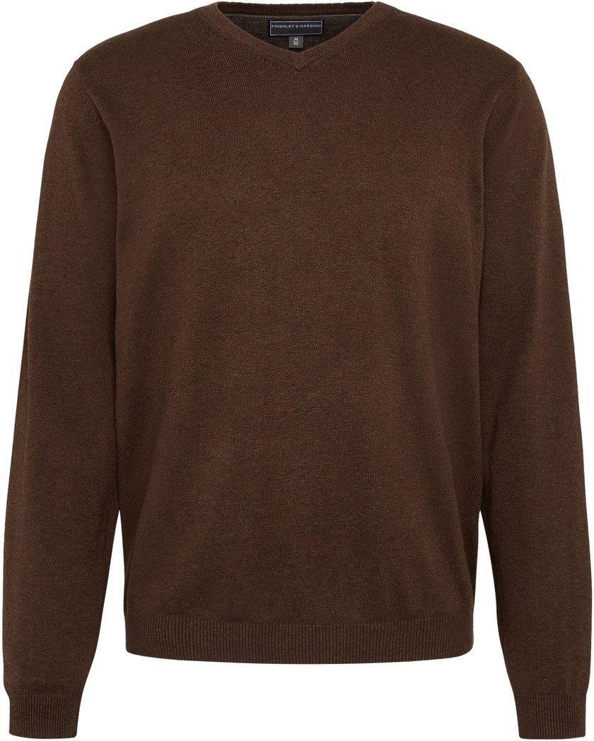 99e605f176f156 Finshley & Harding Sweter męski z dodatkiem kaszmiru brązowy - zdjęcie 1