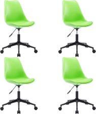Vidaxl Obrotowe Krzesła Jadalniane 4 Szt Zielone Sztuczna Skóra