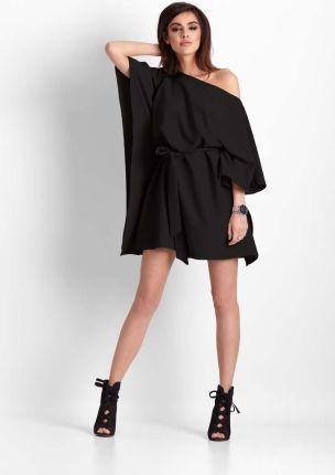 5070ad8ca5 Czarna Nietoperzowa Sukienka z Wiązanym Paskiem