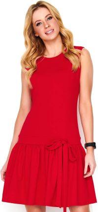 c6e91ffd8e Czerwona Sukienka z Obniżoną Talią Wykończona Falbanką