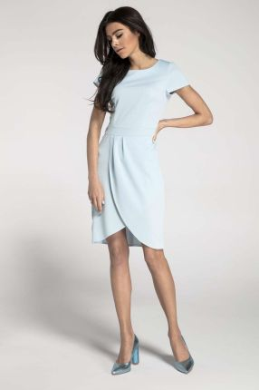 e9c2d51e3b Błękitna Elegancka Dopasowana Sukienka z Kopertowym Dołem