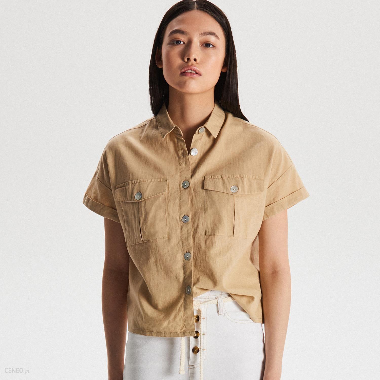 Cropp Lniana koszula w stylu safari Beżowy Ceny i  XxPI0