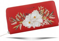 9730d82fe9546 Modne Portfele Damskie XL motyw kwiatów renomowanej marki David Jones  Czerwone (kolory) ...