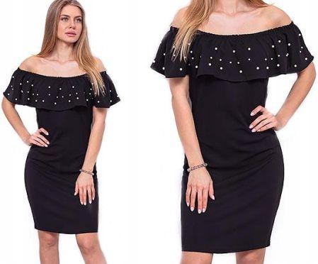 0ab494e59d Elegancka Sukienka Hiszpanka Perełki XL 42 R368 Allegro