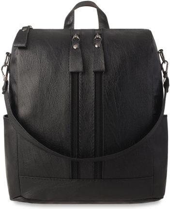 a5d257df391bc Klasyczny plecak miejski z kieszonkami plecako-torebka 2w1 skóra eko -  czarny