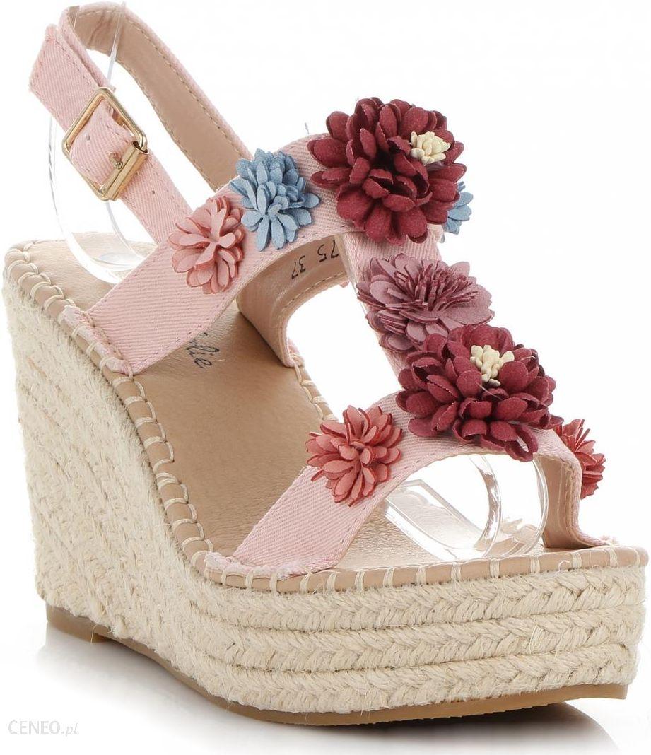 3b9b339e Oryginalne Buty Damskie Koturny z kwiatami renomowanej marki Lady Glory  Pudrowy Róż (kolory) -