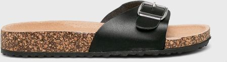 7585f916 ... Czarne lakierowane klapki damskie z jednym paskiem z komfortową  skórzaną wkładką i profilowaną korkową podeszwą Casu B18X3/BP. Answear -  Klapki answear