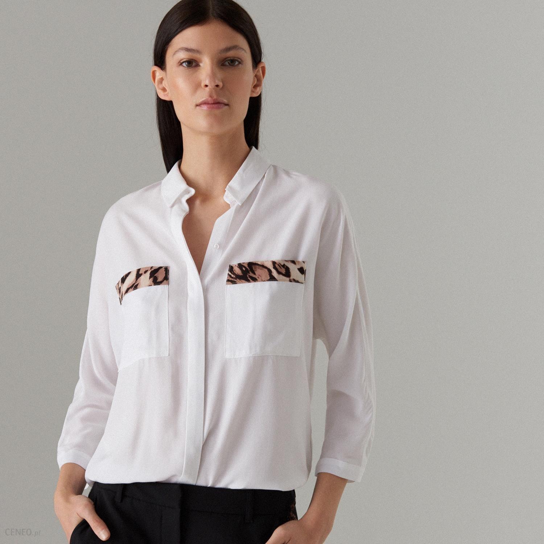 Mohito Gładka koszula oversize Biały Ceny i opinie  fcP3H