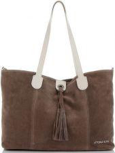 7910d7fcdd272 Uniwersalne Torebki Skórzane Włoski Shopper Bag z możliwością zwężenia  renomowanej marki Vittoria Gotti Ziemisty (kolory ...
