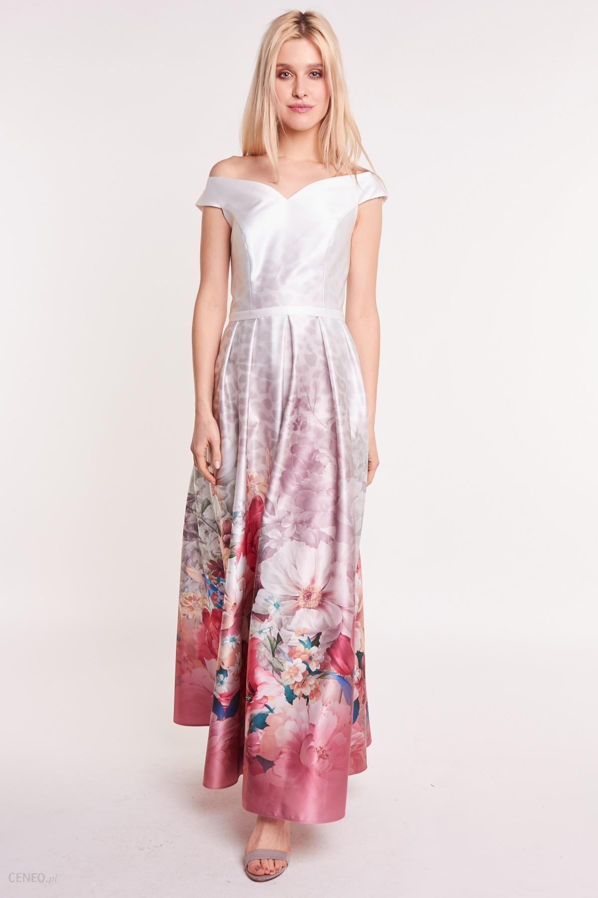 1b562ec6696d91 Długa sukienka w kwiaty z hiszpańskim dekoltem - Ceny i opinie ...