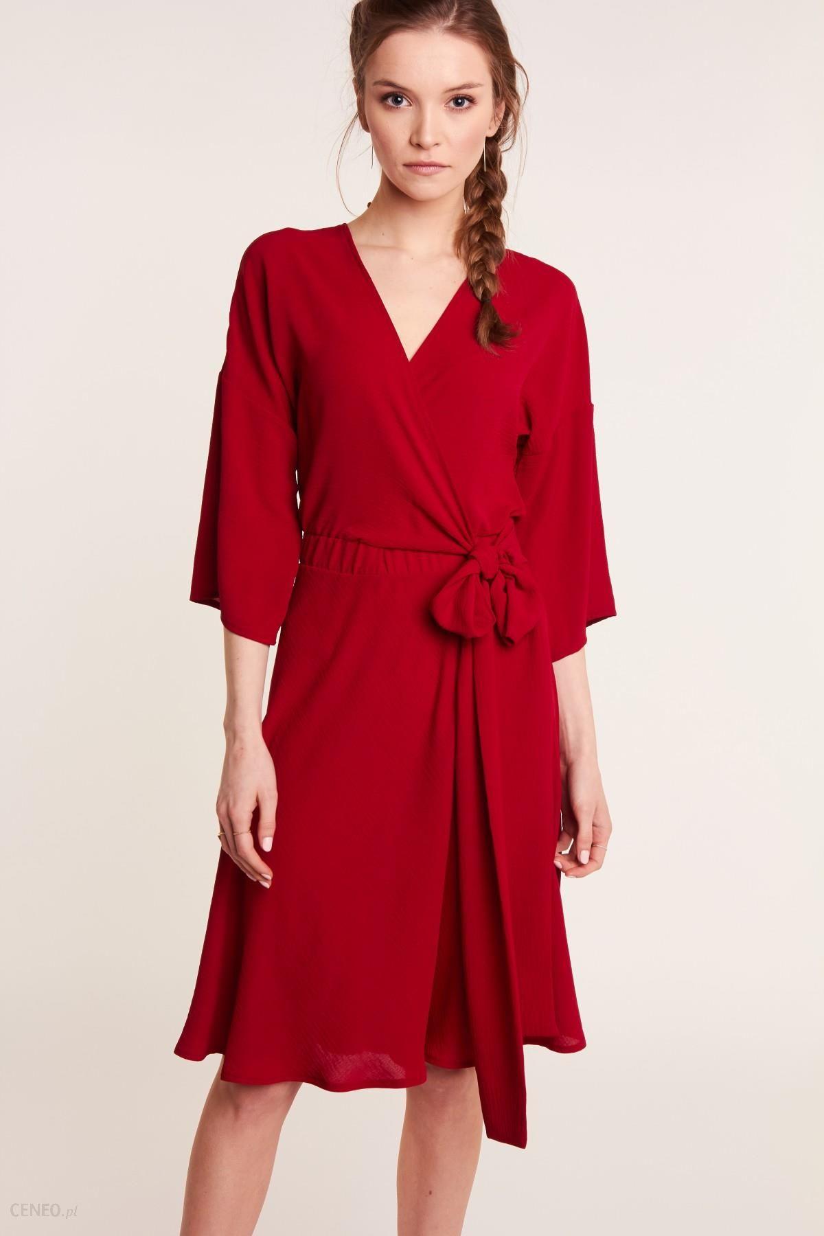 Czerwona sukienka kopertowa Ceny i opinie Ceneo.pl