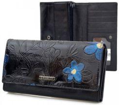 dc78dcd4484f7c CAVALDI portfel skórzany kwiaty P016 czarny