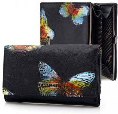 94abf1269f6c9e CAVALDI portfel skórzany eko motyle P017 czarny