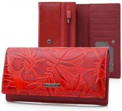 a229fc21c2e32 CAVALDI portfel skórzany damski lakierowany kwiaty P059 czerwony