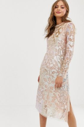 66b78aa678 Needle   Thread tiled sequin embellished midi shift dress in rose - Pink