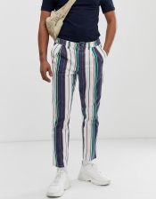 ASOS DESIGN cigarette trousers with pleats in washed stripe - White - zdjęcie 1
