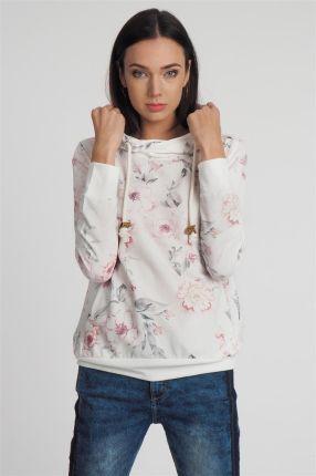 d6986d9908c48 Bluza z kapturem damska w kwiaty ecru Eight2Nine - ecru
