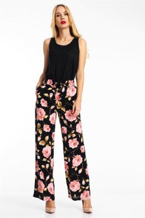 b6dcafa772658 Spodnie materiałowe damskie w kwiaty czarne Haily's - czerń