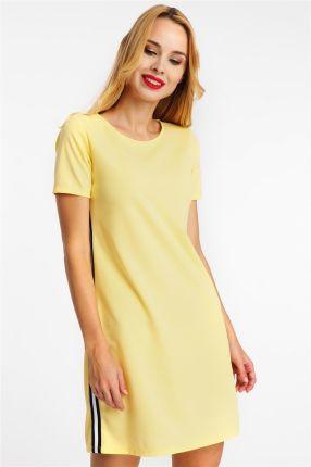 e39e48df36 Sukienka midi z lampasami żółta Hail s - odcienie żółtego i złota