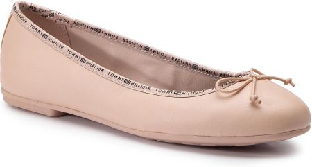 Baleriny TOMMY HILFIGER - Leather Ballerina Tommy Branding FW0FW04439  Cream Tan 904