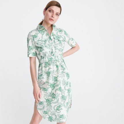 19bc1d5de4b962 Reserved - Sukienka z satynowego żakardu - Wielobarwn - Ceny i ...