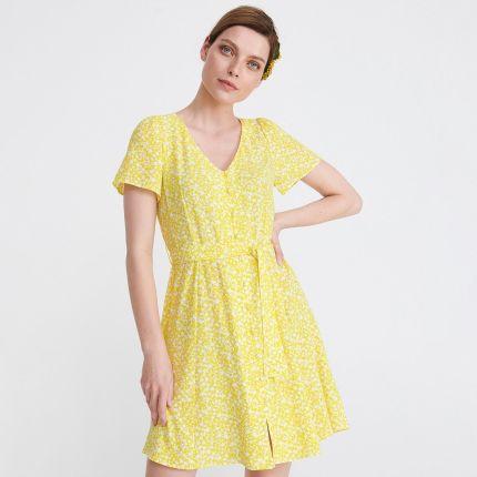 6990563c7a Reserved - Sukienka w drobne kwiaty - Żółty ...