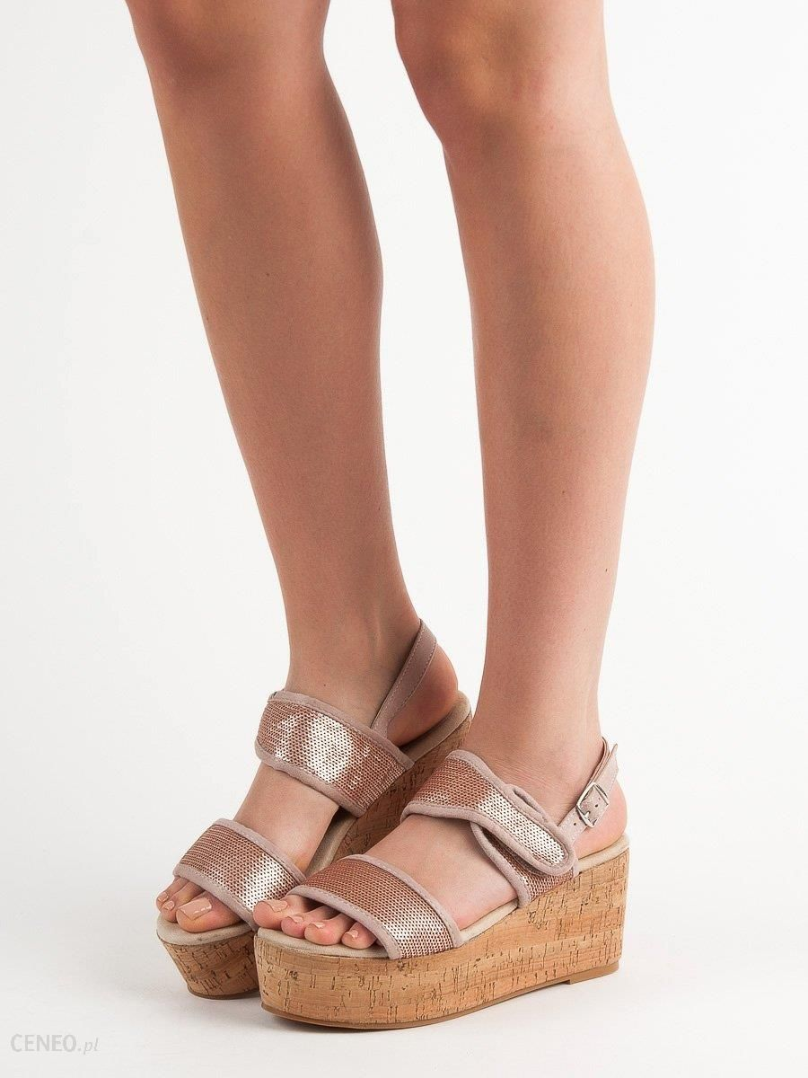 Kylie Sandały Z Na Rzepy szare | Sandały, Cekiny i Buty damskie