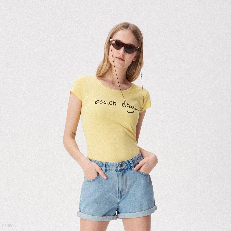 93ffb178d Sinsay - T-shirt z napisem Beach days - Żółty - Ceny i opinie - Ceneo.pl