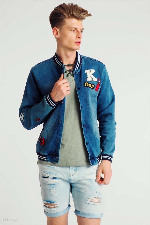 Kurtka bomber męska wiosenna jeansowa z naszywkami niebieska 98 86 odcienie niebieskiego Ceny i opinie Ceneo.pl