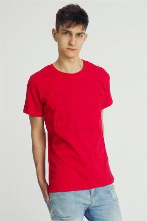 15989b004bad6 T-shirt męski z wytłaczanym wzorem czerwony Sublevel - odcienie czerwieni
