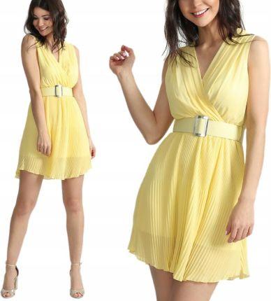 5137638ab4 Plisowana sukienka koktajlowa pasek New I36 Kolory Allegro