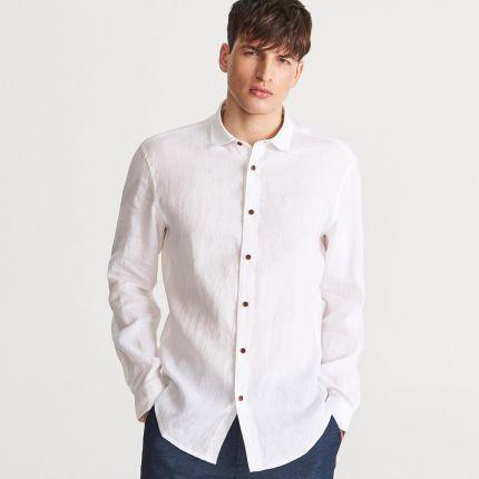 a4930f31112ae Reserved - Lniana koszula regular fit - Biały ...