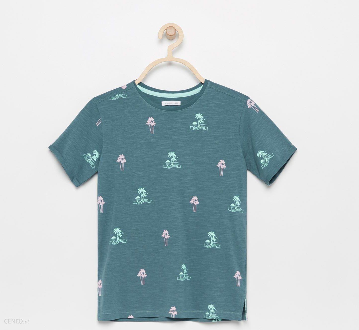 Reserved T shirt z nadrukiem w palmy Zielony Ceny i opinie Ceneo.pl